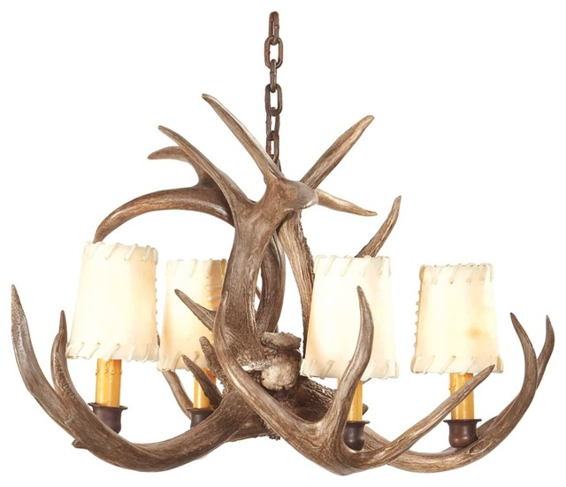 Rustic Lodge Small Coues Deer Antler Chandelier