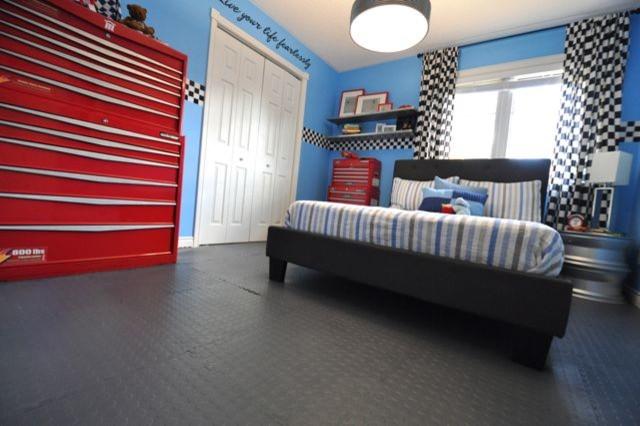 Car Garage Theme Kids Bedroom Transitional