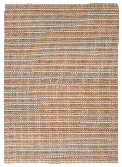Natural Solid Pattern Jute/Cotton Beige /Brown Rug - AD03, 3.6x5.6 traditional-area-rugs