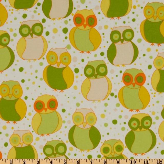 Della Flannel Little Owls Sun Fabric modern-fabric