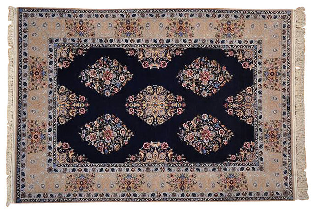 Birds Design Oriental Rug Hand Knotted Wool And Silk Esfahan Rug Sh12834 transitional-rugs
