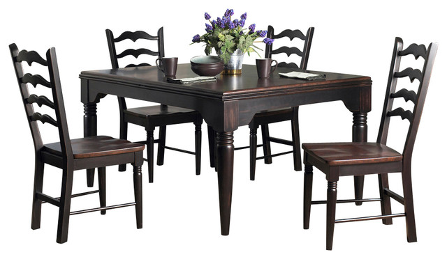 Powell seville 5 piece rectangular dining room set in for Traditional black dining room sets