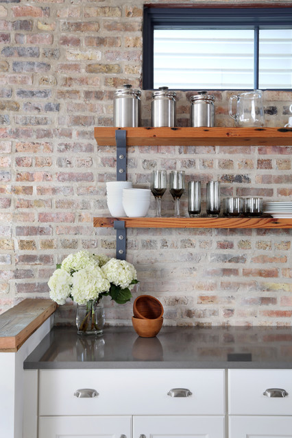 exposed brick kitchen backsplash inspires rustic