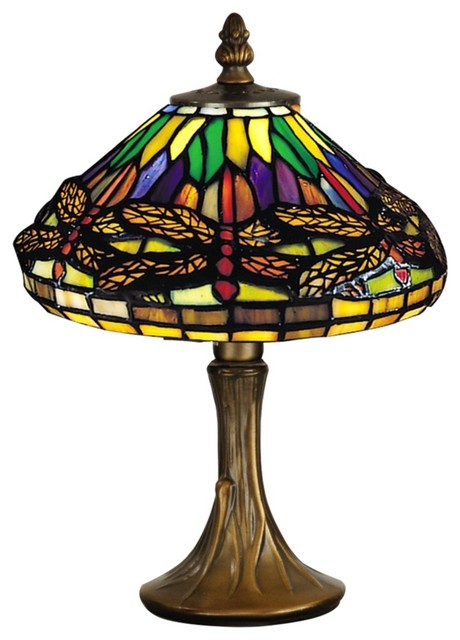 Tiffany Dragonfly Antique Brass Dale Tiffany Accent Lamp traditional-table-lamps