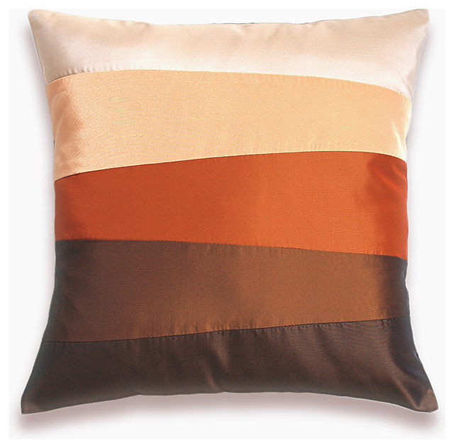 Modern Pillow : Cream Orange Red Rust Brown Pillow Cover 16 in SIENNA DESIGN
