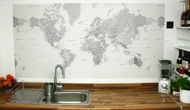 World map wallpaper used as a splashback eclectic wallpaper