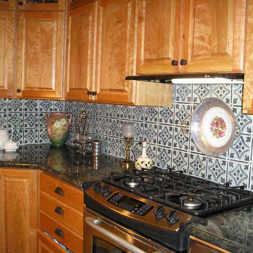 Handpainted Tin Tile Backsplash Rustic Tile Tampa