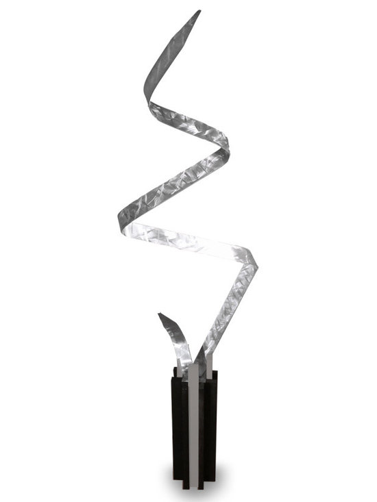 Struck - Modern Abstract Metal Outdoor Decor Sculpture, Brushed Metal - This is an original hand crafted and hand painted sculpture made from high quality aluminum metal with a wooden base. It is coated with thick lacquer for outdoor protection. The base is sculpted art piece in itself. It is perfect for displaying anywhere around your home or business either on the ground or elevated surface. It is a great way to fill your space with a modern masterpiece. The sculpture changes shape with every angle that it is viewed from. This piece will be shipped as two separate pieces and I provide the screw and screw cover for easy and seamless mounting.