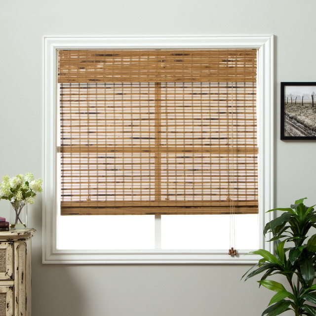 Dali native bamboo 98 inch long roman shade contemporary for Roman blinds for large windows