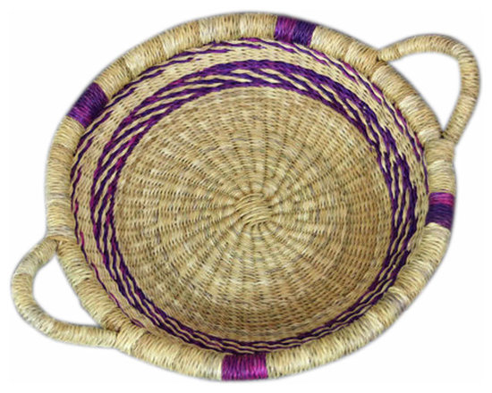 Tribal Grass Woven with Purple Accents - Low and wide, natural grass woven basket. Bold purple accents add a tribal feel to this woven piece.