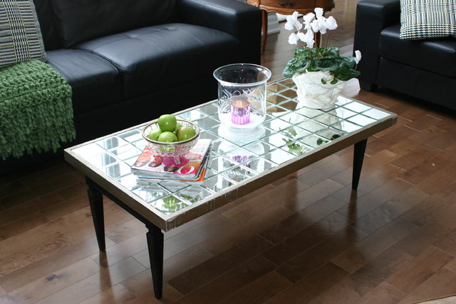 Diy mirrored coffee table eclectic montreal by julie loves home
