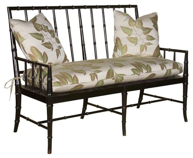New Settee Faux Bamboo Spindles Cane Seat traditional-sofas