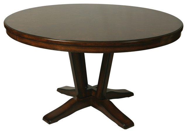 Round Wood Dining Table In Distressed Cherry Traditional Dining Tables