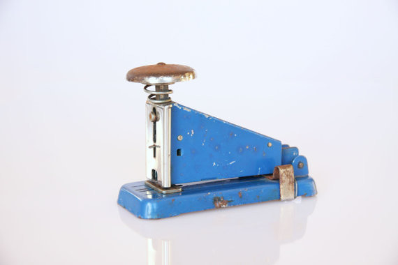 Vintage Industrial Blue Stapler by Hippo's Dream eclectic-desk-accessories