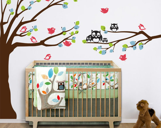 Nursery Wall Decal with Owls and Birds by WallDefinition -