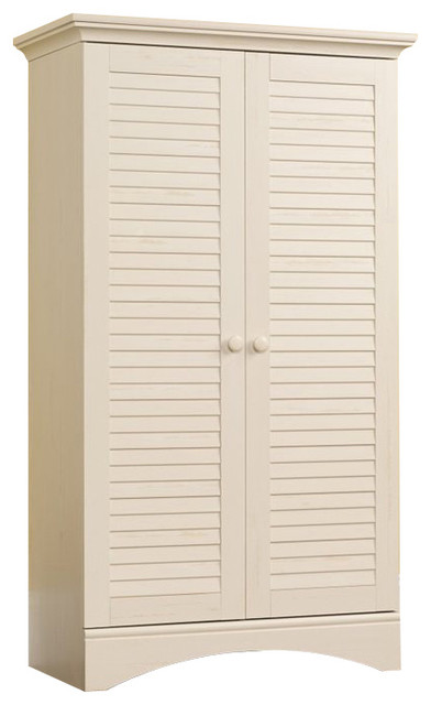 Sauder Harbor View Storage Cabinet in Antiqued White - Transitional - Storage Cabinets - by Cymax