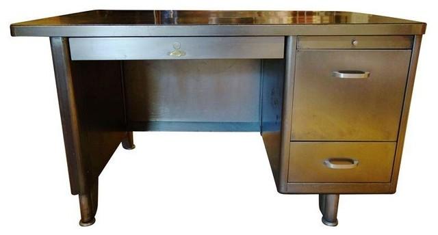 Vintage Metal Tanker Desk modern-side-tables-and-end-tables