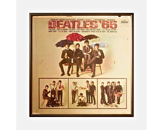 "Glittered Beatles 65 Album - Glittered record album. Album is framed in a black 12x12"" square frame with front and back cover and clips holding the record in place on the back. Album covers are original vintage covers."