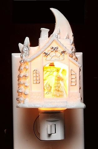 Christmas Eve House Themed Plug In Night Light With Moon