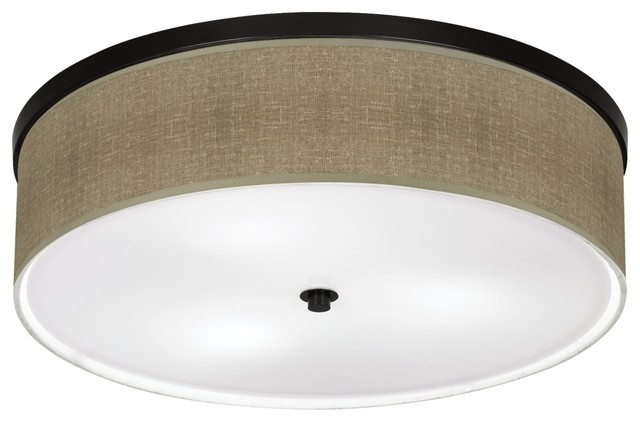 "Contemporary Burlap Print 20 1/4"" Wide Bronze Ceiling Light transitional-ceiling-lighting"