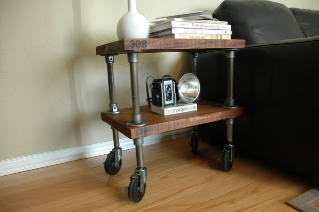 Reclaimed Wood amp Pipe End Table On Wheels