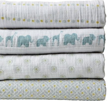 Aden + Anais Set of 4 Swaddle Blankets - Aqua traditional-baby-bedding