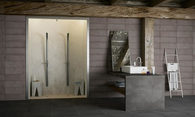 """Active Stone Graphite, Groove 01, Groove 2 8""""x24"""", and Graphite 24""""x24"""" eclectic-bathroom"""