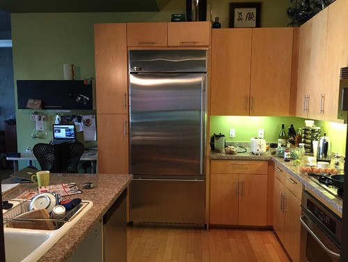 Need help with kitchen cabinet resurface color / style and paint color