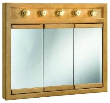 Design House Bathroom Richland 36 in. W 5-Light Tri-View Medicine Cabinet in Nut - Contemporary ...