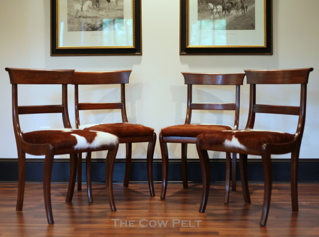 English Regency Cowhide Chairs Eclectic Dining Chairs