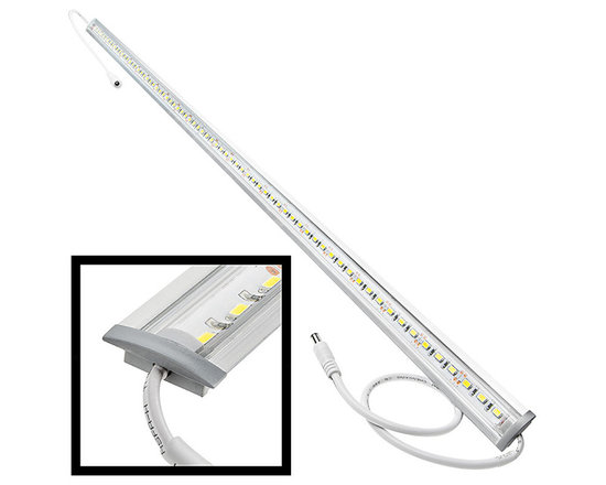 ALB series Aluminum LED Light Bar Fixture - Flush Mount - ALB series flush mount aluminum LED light bar fixture with 72 x 5630SMD LEDs. Available in 1 meter(39.3 in) length. Aluminum housing with clear or frosted lens cover. 12 inch power wires on both ends with DC connectors for easy plug and play installation to compatible power supplies. Easily connect up to 2 light fixtures (max run) using plug and play DC connectors. 12VDC operation.