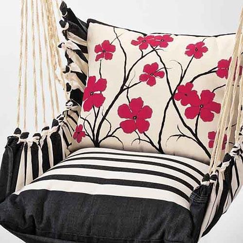 Red Flowers Indoor Outdoor Swing Chair Eclectic