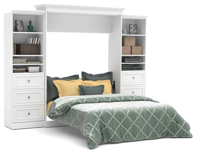 Queen Wall Bed And Storage Units With Drawers In White Contemporary Bedro