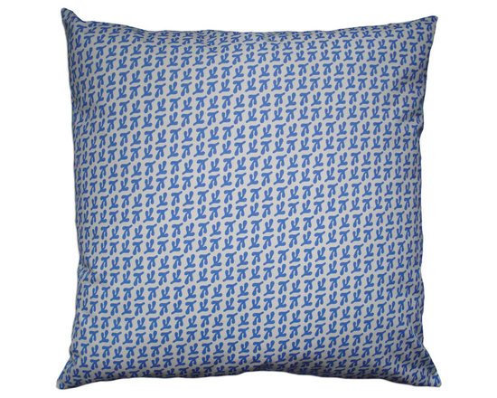 Balanced Design - Hand Printed Canvas Pillow - Birds Feet, Cornflower, 22 x 22 - -Graphic, modern patterns -Hand printed in a historic Rhode Island textile mill on 10oz. canvas -Eco-friendly inserts (50% regenerated fiber made from recycled plastic bottles, 50% 95/5 feather)  -Zipper closure  -Wash in cold water, line dry.  -Sewn in Massachusetts  -Imported Fabric