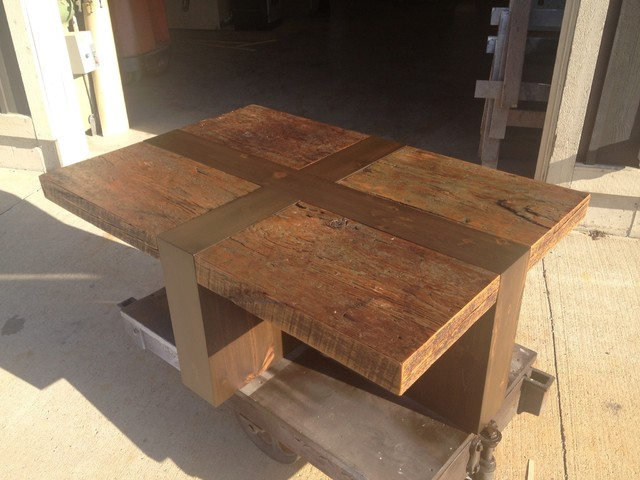 'X' Frame barn board coffee table rustic-coffee-tables
