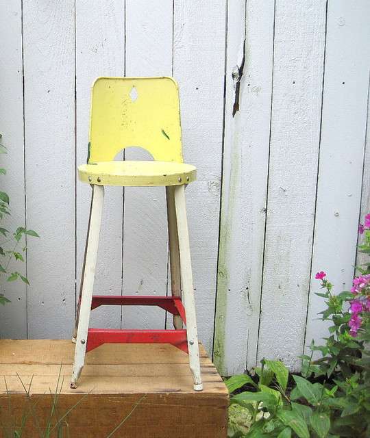 Vintage Farmhouse Childs Metal Chair Stool by birdie1 eclectic-kids-step-stools-and-stools