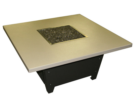 COOKE - Parkway Square Fire Pit Table - Black Base, Beige Top, Black Base - This Fire Pit table is made in the USA with an all aluminum construction making it very durable and a great value. The table comes with a door for hiding the tank under the top. The brushed aluminum top comes with silver bolts for the base all other configurations come with black bolts so they are less of an accent contact us when ordering if you want it different. The brushed aluminum top comes with silver bolts for the base all other configurations come with black bolts so they are less of an accent, contact us when ordering if you want it different. Made by us in California with precision CNC bending and laser cutting technology for impeccable quality and style. The So Cal fire pit table is perfect for heating up the evening on your patio or outdoor living area.