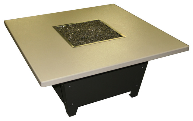Parkway Square Fire Pit Table - Black Base, Beige Top, Black Base contemporary-firepits
