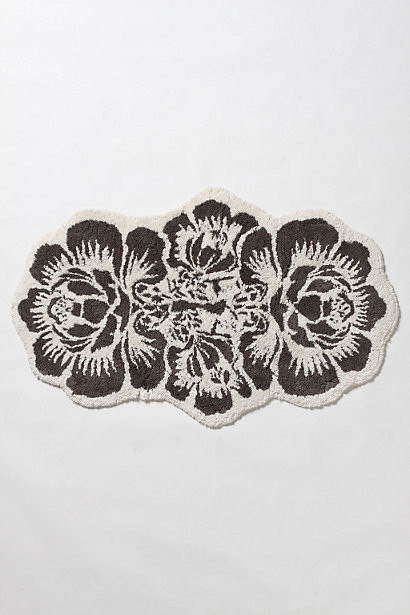 Damask bath mat contemporary bath mats by anthropologie for Black and white damask bath mat