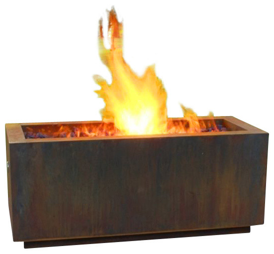 Rectangular Weathering Steel Fire Pit, Wood Burning Style contemporary-fire-pits