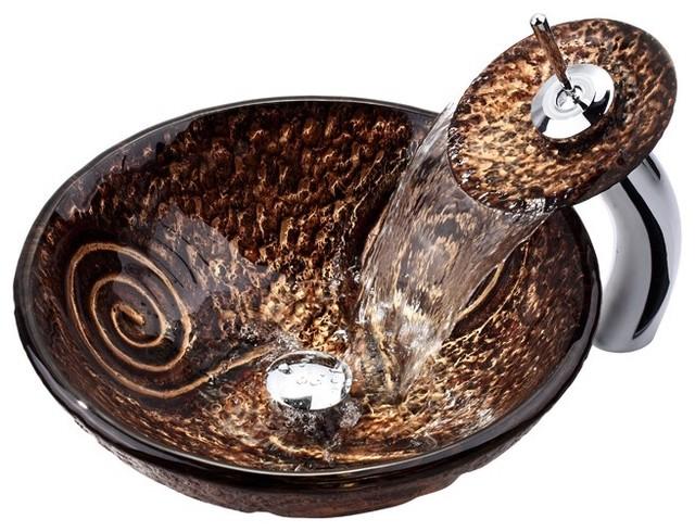 New 12 Modern Contemporary Bathroom Faucet Vessel Sink: Kraus C-GV-650-19mm-10 Luna Glass Vessel Sink And