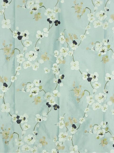 Blue Embroidered Floral Dupioni Silk Fabrics asian-fabric