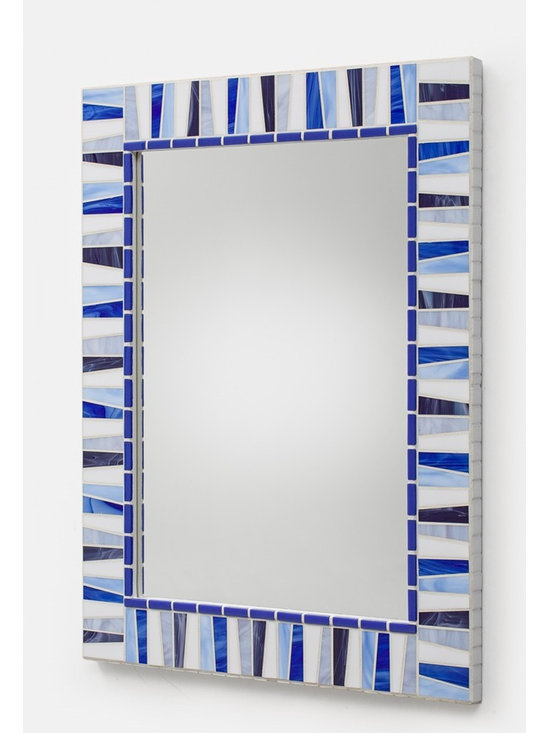 """Stained Glass Mosaic Mirrors - Handmade mosaic mirror created by mosaic artist Josh Hilzendeger. Mosaic design features blue, purple, periwinkle and white stained glass shades. Side edges of mosaic mirror frame are decorated with white venetian glass mosaic tile and white grout finishes off the mosaic border design. Custom sizes available; pricing varies on mirror size. Price listed is for 30"""" x 24"""" mirror frame.  Photo by Mark Bryant."""