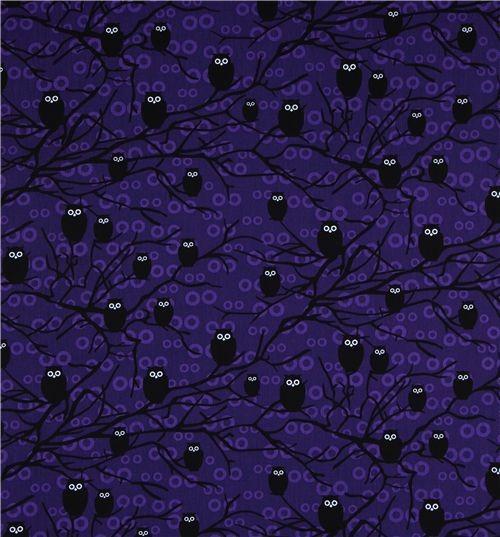 purple owls fabric Robert Kaufman USA designer fabric