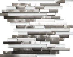 Modern Random Mix Steel - Glass II Mosaic Tile contemporary kitchen tile