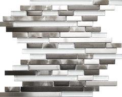 Modern Random Mix Steel - Glass II Mosaic Tile contemporary-tile