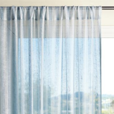 Linen Stripe Window Panel Chambray Traditional Curtains