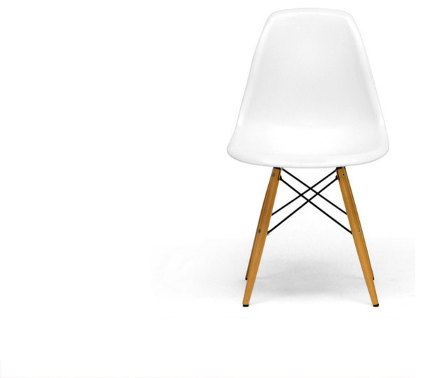 White Plastic Mid Century Modern Shell Side Chair Set Of 2 Contemporary Dining Chairs By