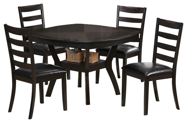 Monarch Specialties 5 Piece 48 Inch Square Dining Room Set In Cappuccino Co
