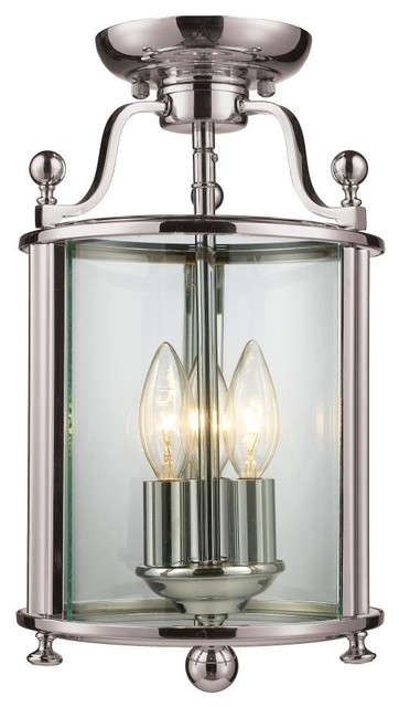Three Light Brushed Nickel Clear Glass Cage Semi Flush Mount Contemporary